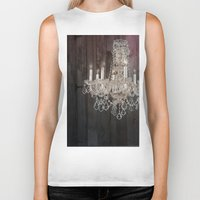 shabby chic Biker Tanks featuring rustic nature barn wood western country shabby chic chandelier art by chicelegantboutique