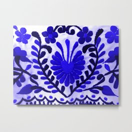 Beautiful Midnight Blue Mexican Flower Metal Print