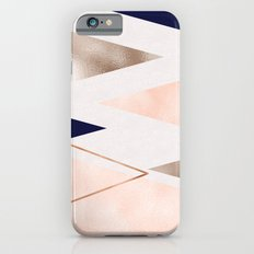 Rose gold french navy geometric iPhone 6s Slim Case