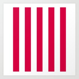 Rich carmine fuchsia - solid color - white vertical lines pattern Art Print