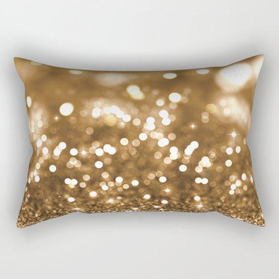 Golden Christmas Glitter Rectangular Pillow