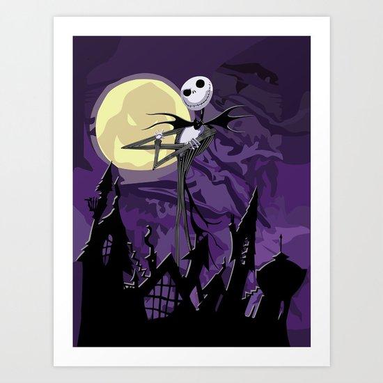 Halloween Purple Sky with jack skellington iPhone 4 4s 5 5c, ipod, ipad, pillow case tshirt and mugs Art Print