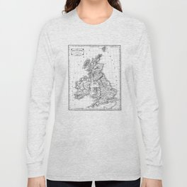 Vintage Map of The British Isles (1864) BW Long Sleeve T-shirt