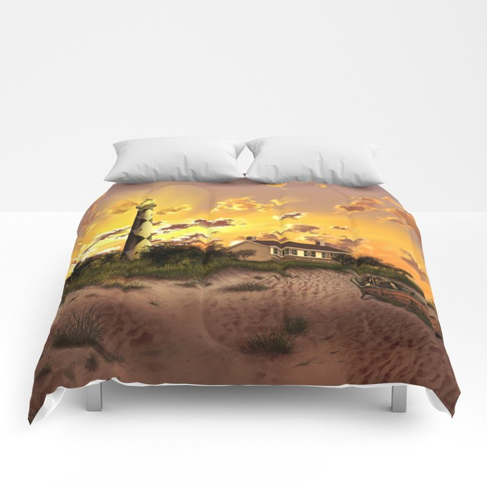 lighthouse landscape sky Comforters