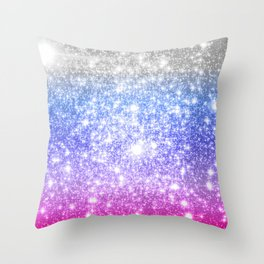 Galaxy Sparkle Stars Periwinkle Pink Throw Pillow