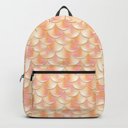 Golden Mermaid Pattern, Holographic Fish Scale Print Backpack