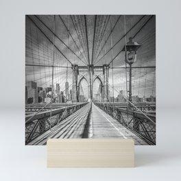 NEW YORK CITY Brooklyn Bridge   Monochrome Mini Art Print