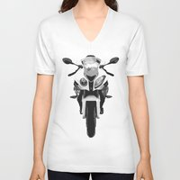 bmw V-neck T-shirts featuring BMW Motorcycle by SABIRO DESIGN