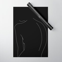 Minimal line drawing of woman's body - Alex black Wrapping Paper