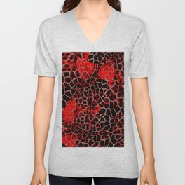 Black and Red Giraffe Print Unisex V-Neck