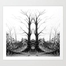Pencil Trees: Mirrored Landscape Art Print