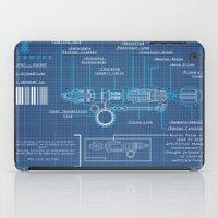 blueprint iPad Cases featuring Riversong Screwdriver Blueprint by JackEmmett