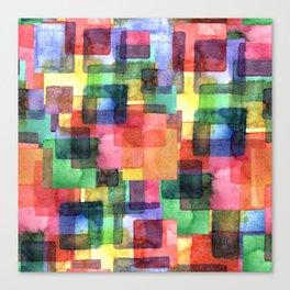 Watercolor blots plaid :) Canvas Print