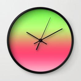 Watermelon Pink Green Gradient Wall Clock