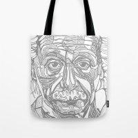 einstein Tote Bags featuring Einstein  by Jess Moore
