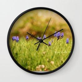 Mini Landscape of the Pretty Purple Hyacinths ~ & a bee Wall Clock