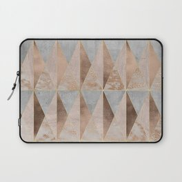 Copper Foil and Blush Rose Gold Marble Triangles Argyle Laptop Sleeve