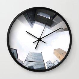 Looking up in Hong Kong (through a fisheye) Wall Clock