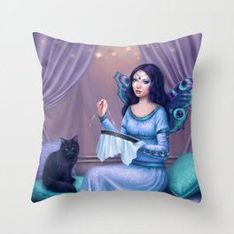 Ariadne Butterfly Peacock Fairy & Cat Throw Pillow