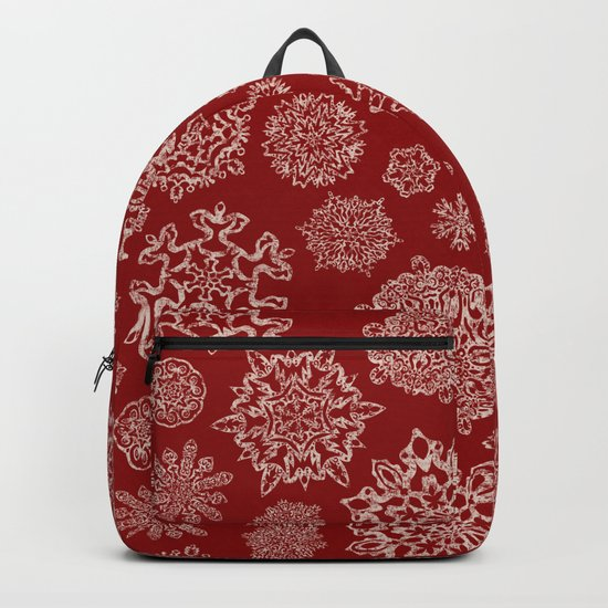 Merry Christmas- Abstract christmas snow star pattern on festive red I Backpack