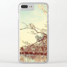 Hello Spring! (White Cherry Blossom by the Lake) Clear iPhone Case