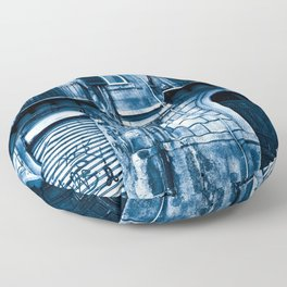 Classic Blue Abandoned Sound Floor Pillow