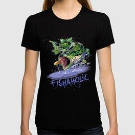 Fishaholic Abstract Bass Fishing T-shirt