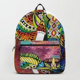 Rainbow Elephant Red Background Backpack