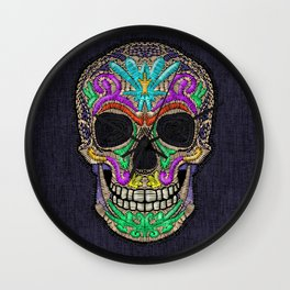 Skull embroidery Wall Clock
