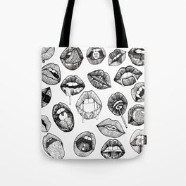 Hand Drawn Luscious Lips in Black and White Tote Bag