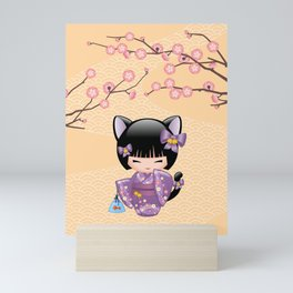 Japanese Neko Kokeshi Doll V2 Mini Art Print