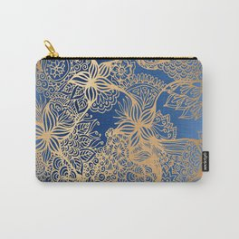 Blue and Gold Zen Doodles Carry-All Pouch