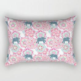 Tiny Elephants in Fields of Flowers Rectangular Pillow
