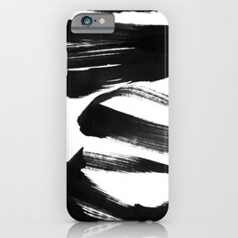 Black and White Abstract Shapes Ink Painting iPhone Case