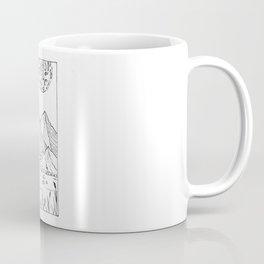 Moon Over Forest Mountain Range River Illustration Coffee Mug
