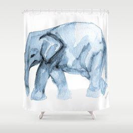 Elephant Sketch in Blue Shower Curtain