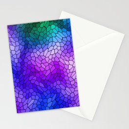 Volumetric texture of pieces of violet glass with a light mysterious mosaic. Stationery Cards