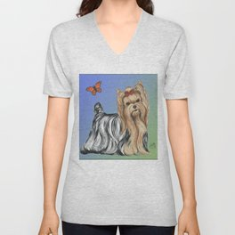 Yorkshire Terrier - Yorkie- by Nina Lyman of Dogs By Nina Unisex V-Neck