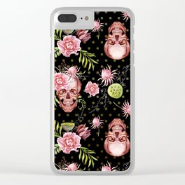 Pink Sugar Skulls Clear iPhone Case