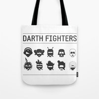 foo fighters Tote Bags featuring Darth Fighters by Nillustra™