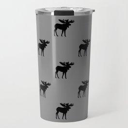 Bull Moose Silhouette - Black on Gray Travel Mug