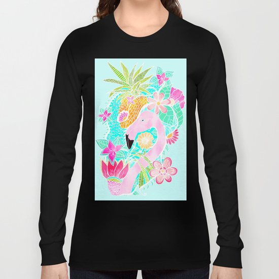 Tropical summer watercolor flamingo floral pineapple by girlytrend