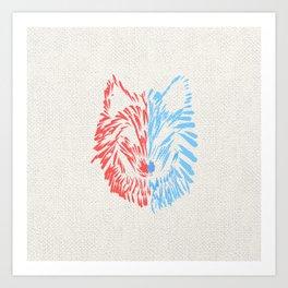A Divided Wolf Art Print
