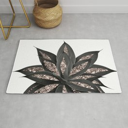 Gray Black Agave with Rose Gold Glitter #2 #shiny #tropical #decor #art #society6 Rug