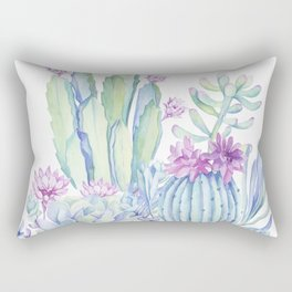 Mixed Cacti White #society6 #buyart Rectangular Pillow