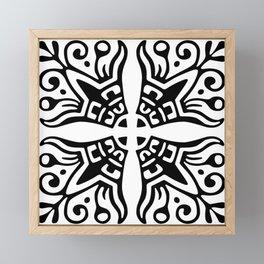 Black and White Scroll Pattern Framed Mini Art Print