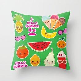 Hello Summer Persimmon, pear, pineapple, cherry smoothie, ice cream cone, sunglasses. Kawaii Throw Pillow