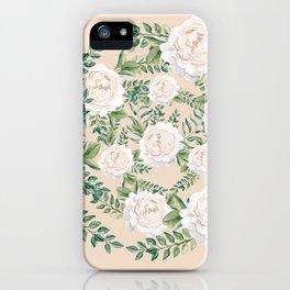 Garden Roses Mandala Pink Green Cream iPhone Case