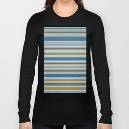 Stripey Design Gold Cream Brown Blues Long Sleeve T-shirt