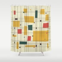mid century Shower Curtains featuring Mid-Century Modern by Studio Fibonacci